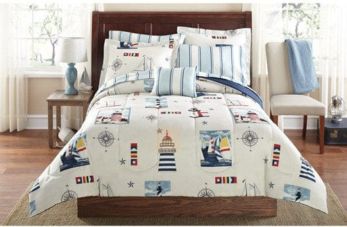 Blue-Red-Lighthouse-Beach-Nautical-Twin-Comforter-Set-6pc-Bed-in-a-Bag-0 Best Coastal and Beach Bed In A Bag Options