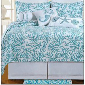Full-Queen-Quilt-Cora-Blue-Tropical-Beach-Coral-Design-on-One-Side-and-Starfish-and-Shells-on-the-Reverse-Side-90-X-92-100-Cotton-Filled-Prewashed-0