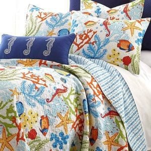 Madison park bayside 6 piece coverlet set for Fish bedding twin