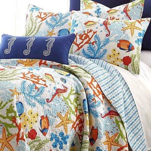 Tropical Fish Coral Starfish Seashell Quilt Set : fish quilt bedding - Adamdwight.com