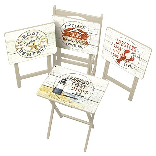 Cape-Craftsman-TV-Tray-Set-with-Stand-Nautical-Set-of-4-0