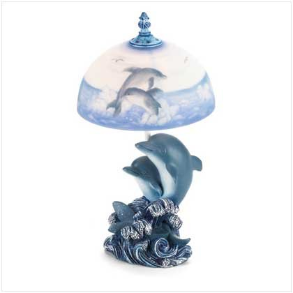 Dancing-Dolphins-Dolphin-Table-Lamp-Frosted-Glass-Shade-0 100+ Coastal Themed Lamps