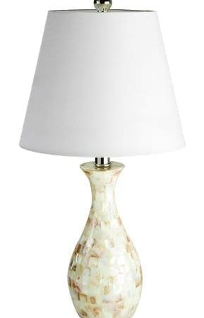 Elegant-Designs-LT1002-SHL-Malibu-Seashell-Tiled-Mosaic-Look-Curved-Table-Lamp-with-Chrome-Accents-0-289x450 100+ Coastal Themed Lamps