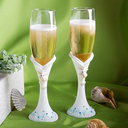 Beach Themed Champagne Toast Glasses