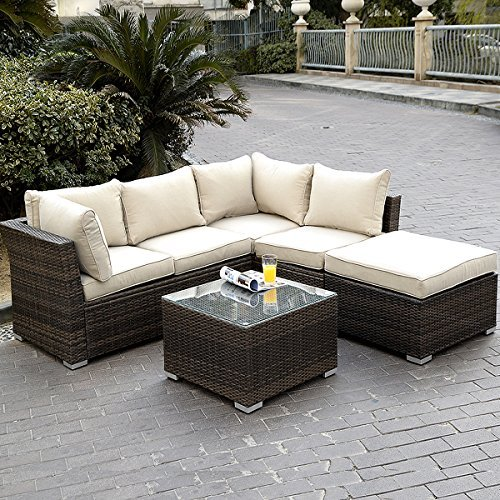 Giantex 4pc Patio Sectional Furniture Pe Wicker Rattan