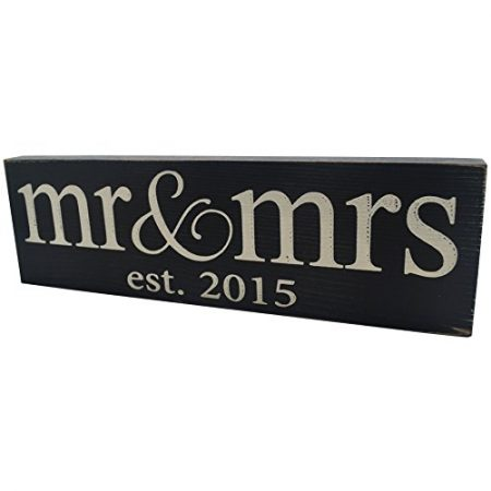 Local-Artist-Mr-Mrs-Est-2015-Wood-Sign-Wedding-Wall-Decoration-0-450x450 100+ Wooden Beach Signs and Wooden Coastal Signs