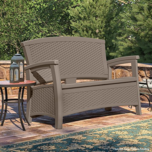 Suncast Elements Coffee Table With Storage Java: Outdoor Patio Loveseat With Storage