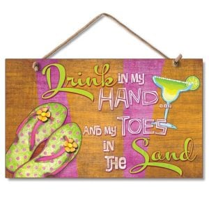 New-Sign-Drink-in-Hand-Toes-in-Sand-Flip-Flop-Art-Paradise-Plaque-0-300x300 100+ Wooden Beach Signs & Wooden Coastal Signs