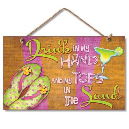 New-Sign-Drink-in-Hand-Toes-in-Sand-Flip-Flop-Art-Paradise-Plaque-0-450x450 100+ Wooden Beach Signs and Wooden Coastal Signs
