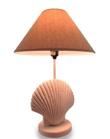 Textured-White-Scallop-Shell-Style-Lamp-wFabric-Shade-0-359x450 Coastal Themed Lamps