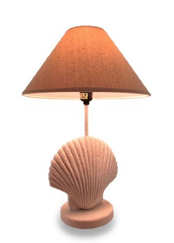 Textured-White-Scallop-Shell-Style-Lamp-wFabric-Shade-0 100+ Coastal Themed Lamps