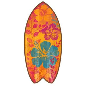 Tropical-Hibiscus-Mini-Surfboard-Weathered-Beach-Home-Dcor-Accent-11-Inches-0
