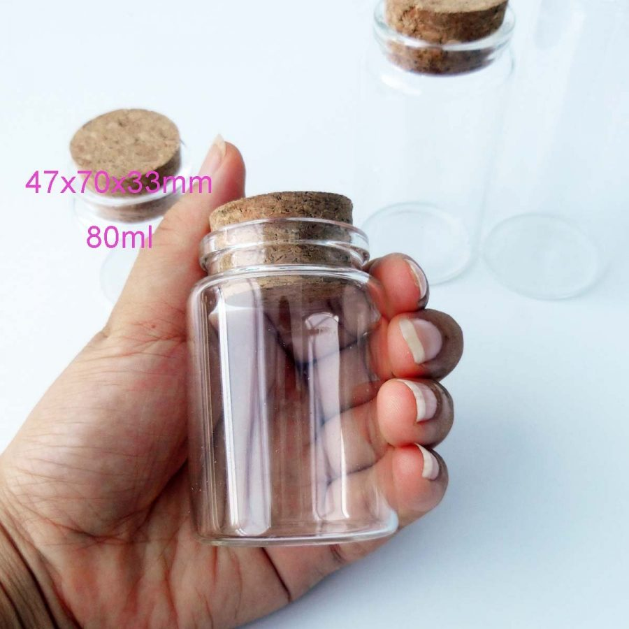 2pcs-Empty-Clear-Glass-Bottles-Vials-80ml Best Small Glass Bottles With Cork Toppers