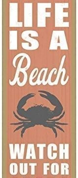 Life-is-a-beach-Watch-out-for-crabs-crab-image-beach-primitive-wood-plaques-signs-measure-5-x-15-size-0-159x360 100+ Wooden Beach Signs & Wooden Coastal Signs