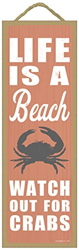 Life-is-a-beach-Watch-out-for-crabs-crab-image-beach-primitive-wood-plaques-signs-measure-5-x-15-size-0 16 Fun Crab Beach Accents For Your House