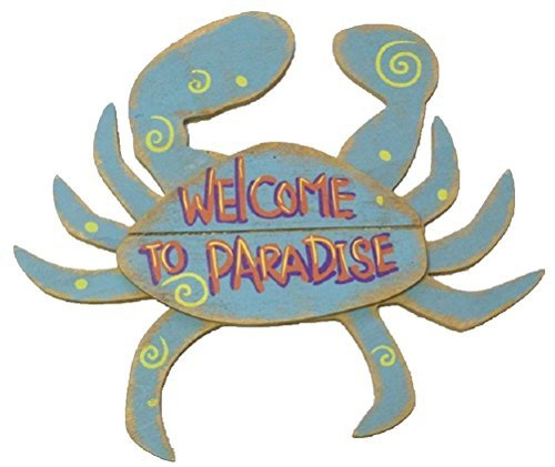 Rough-Wood-Crab-Welcome-to-Paradise-95-X-9-Tropical-Beach-Decor-0 16 Fun Crab Beach Accents For Your House