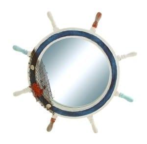 blue and white shipwheel mirror 15