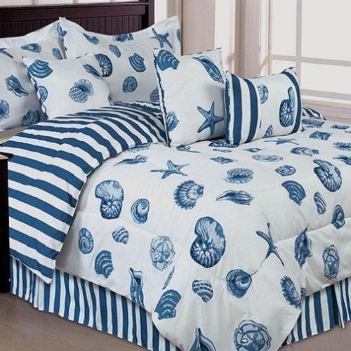 blue-and-white-with-seashells-beach-bed-in-a-bag-1 Best Coastal and Beach Bed In A Bag Options