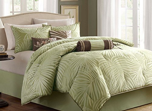 green-palm-leaves-tropical-bed-in-a-bag Best Coastal and Beach Bed In A Bag Options