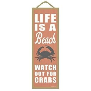 life-is-a-beach-watch-out-for-crabs-wooden-sign-300x300 100+ Wooden Beach Signs & Wooden Coastal Signs