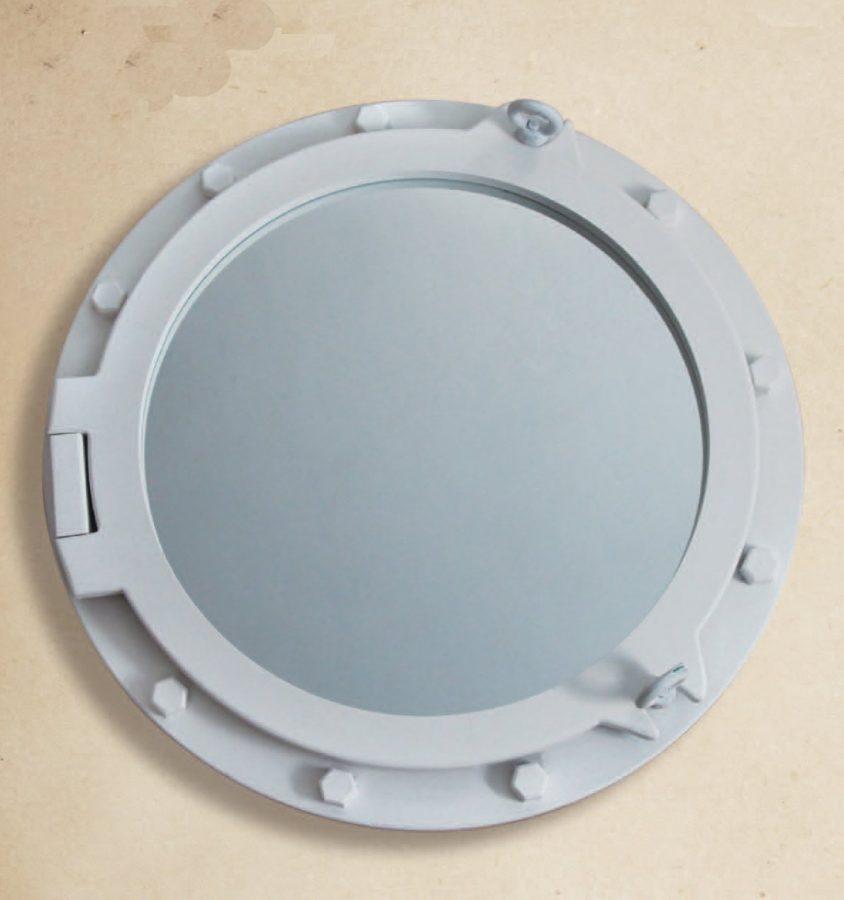White Wooden Porthole Mirror