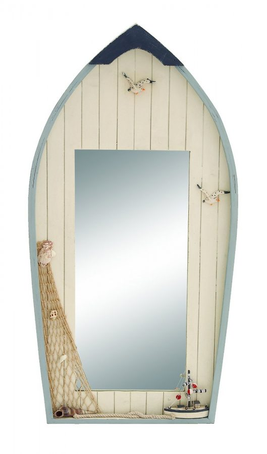 Row Boat With Net Nautical Mirror