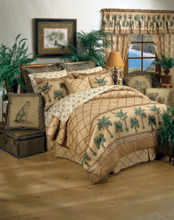tropical brown and green palms beach bed in a bag 14