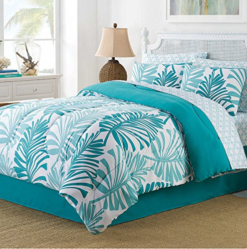 turquoise tropical palm trees beach bed in a bag 8