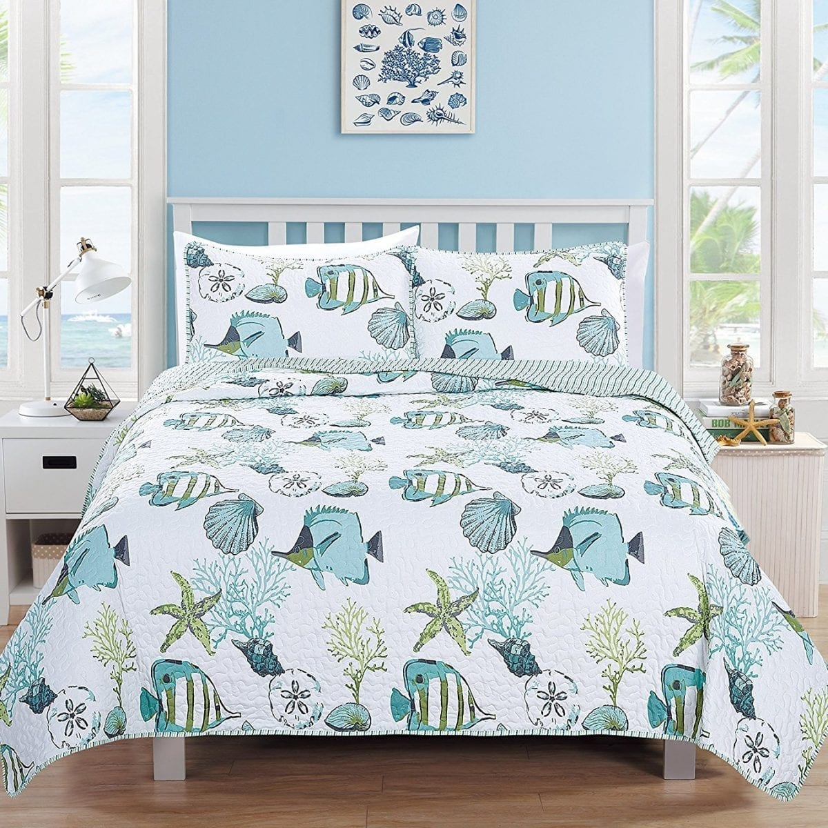 3-Piece-Coastal-Beach-Theme-Quilt-Set-with-Shams Coastal Bedding and Beach Bedding Sets