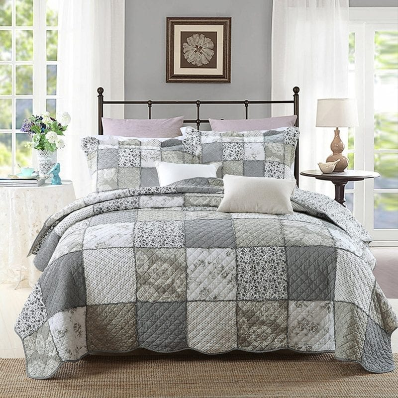 3-Piece-Quilt-Set-Pure-Cotton-Patchwork-Bedspread-Set-Finely-Stitched-Coverlet-Bed-cover-800x800 Coastal Bedding and Beach Bedding Sets