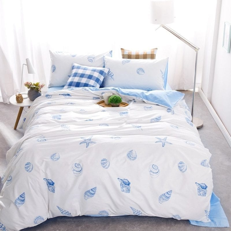 Brandream-Blue-And-White-Nautical-Bedding-Coastal-Beach-Theme-Bedding-Sets-800x800 Coastal Bedding and Beach Bedding Sets
