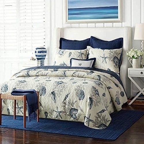 Brandream-Queen-Size-Blue-Ocean-Comforter-Set-Nautical-Bedding-Set Coastal Bedding Sets and Beach Bedding Sets