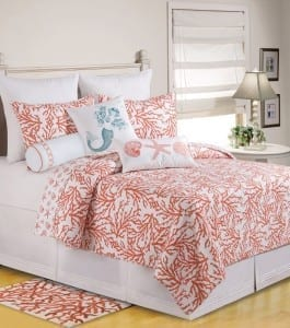 Coral-Pink-and-White-Cora-Quilt-Set-14-265x300 Ultimate Guide to Beach Themed Bedding Sets