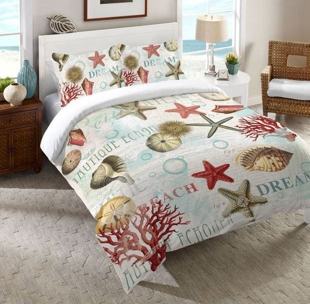 Laural-Home-Dream-Beach-Shells-Comforter Coastal Bedding Sets and Beach Bedding Sets