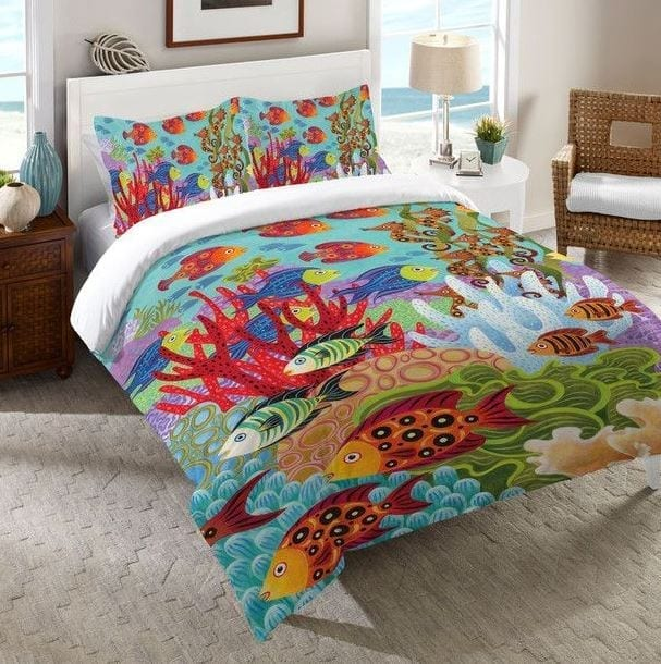 Laurel-Home-Fish-in-the-Hood-Comforter Coastal Bedding and Beach Bedding Sets