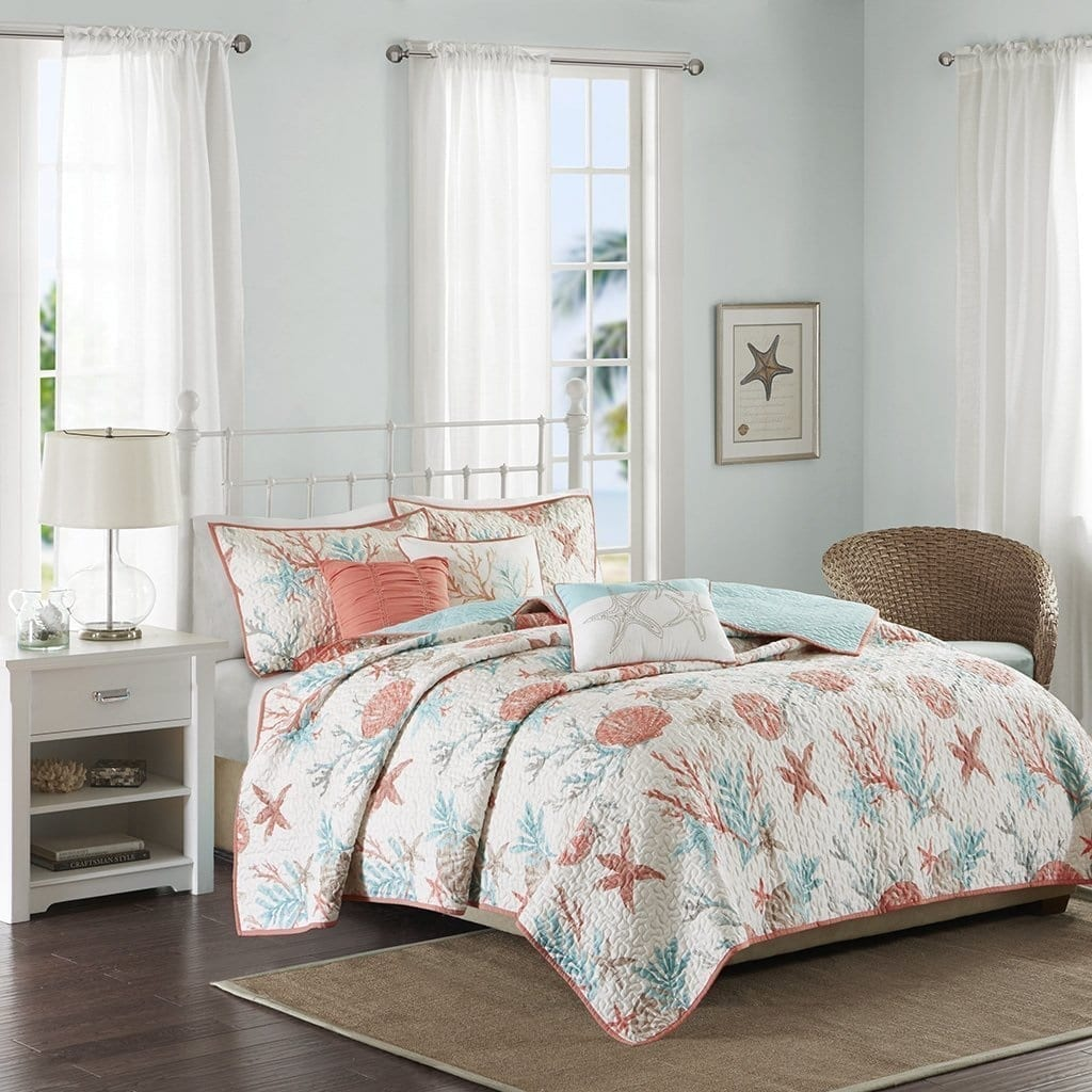 Madison-Park-Pebble-Beach-6-Piece-Quilted-Cotton-Coverlet-Set-Coral-Teal-Full-Queen Coastal Bedding and Beach Bedding Sets