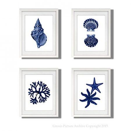 Navy Blue Beach Wall Art Decor Set Of 4 Unframed Prints