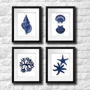 Navy-Blue-Beach-Wall-Art-Decor-Set-of-4-Unframed-Prints-Coastal-Home-Decor-0-2