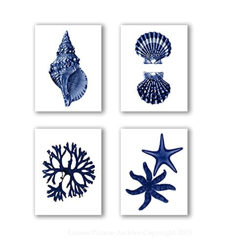Navy Blue Beach Wall Art Decor Set Of 4 Unframed Prints