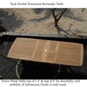 New-11Pc-Grade-A-Teak-Outdoor-Dining-Set-116X44-Rectangle-Double-Extension-Table-2-Arm-8-Side-Castle-Chairs-Cushions-0-2