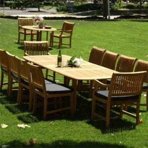 New-11Pc-Grade-A-Teak-Outdoor-Dining-Set-116X44-Rectangle-Double-Extension-Table-2-Arm-8-Side-Castle-Chairs-Cushions-0