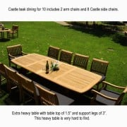 New-11Pc-Grade-A-Teak-Outdoor-Dining-Set-116X44-Rectangle-Double-Extension-Table-2-Arm-8-Side-Castle-Chairs-Cushions-0-6