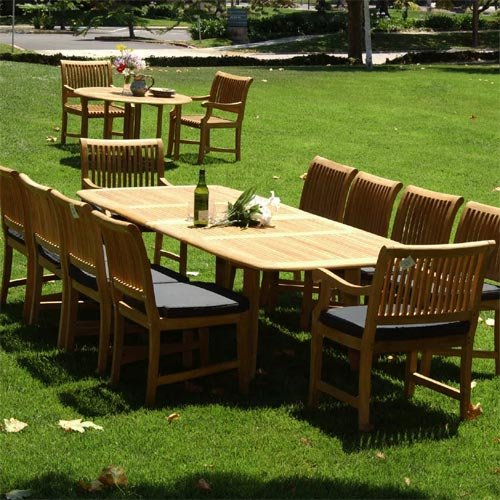 Pc grade a teak outdoor dining set with cushions