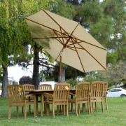 New-9pc-Grade-a-Teak-Outdoor-Dining-Set-one-Double-Extension-Table-8-Java-Arm-Chairs-Umbrella-0-1