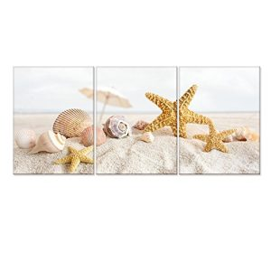 Seascape-Canvas-Wall-ArtShells-Starfish-on-the-Beach-Modern-Canvas-Wall-Art-for-Home-DecorFramed-and-StretchedEasy-to-Hang-0