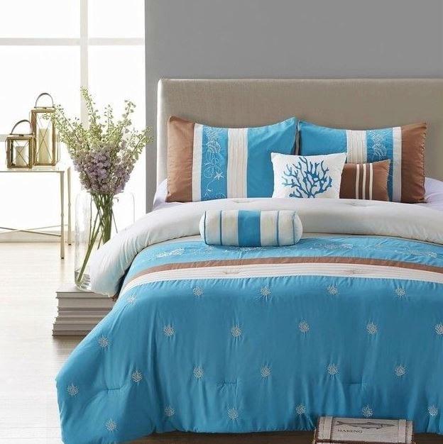 Seward-Embroidered-Comforter-Set-Beach Coastal Bedding and Beach Bedding Sets