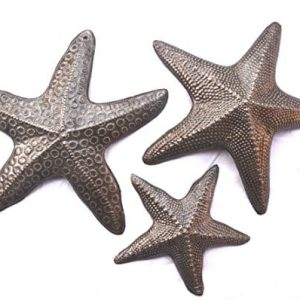 Starfish-Set-of-3-Nautical-Home-Decor-Recycled-Wall-Art-6-x-6-and-45-x-45-0