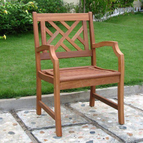 Vifah Outdoor Teak Wood Arm Chair Beachfront Decor