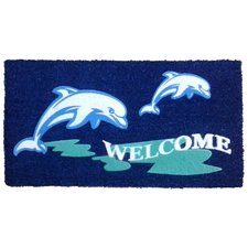 dolphin-welcome-beach-doormat Beach Doormats and Coastal Doormats