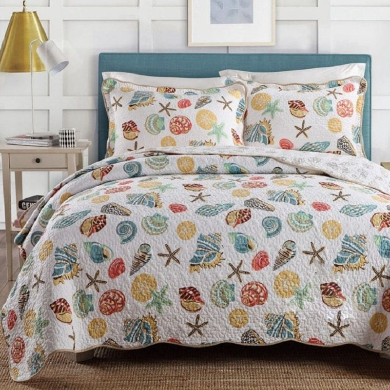mixinni-Super-Soft-Coral-Ocean-Bedding-Set-Seashells-Beach-Theme-Patchwork-Quilt-Set-Comforter-Set1-Quilt-and-2-Shams-King-Size-800x800 Coastal Bedding and Beach Bedding Sets